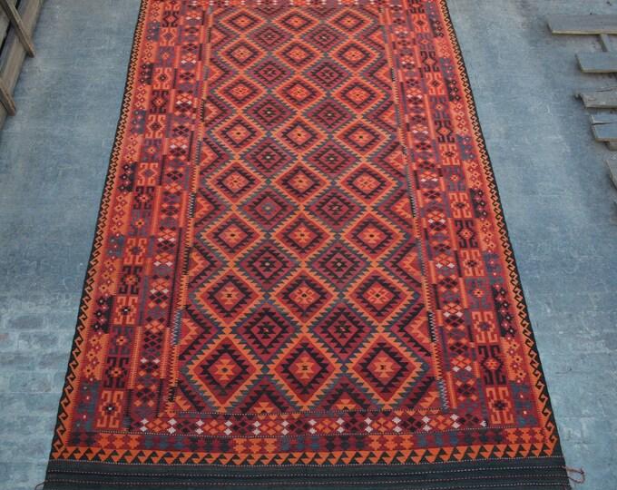 "9'5 x 15'8"" ft. - Vintage Large Afghan Hazara Ghalmori kilim Rug, Tribal handwoven kilim"