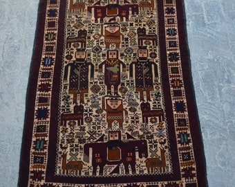Rare Pictorial Decorative rug runner vintage afghan traditional rug/ Vintage Afghan baluchi tribal handmade wool rug / pictorial rug
