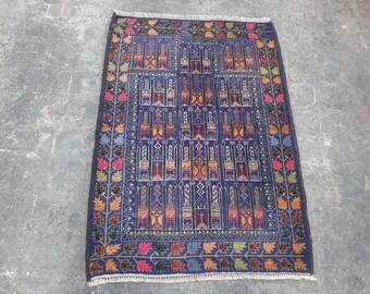 Vintage hand knotted afghan prayer rug