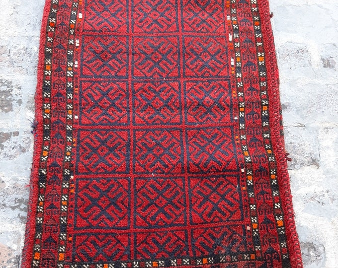 2'0 x 3'7 ft. Afghan Baluch Balisht Bag, Nomadic Wall Hanging, Tribal Style Tapestry