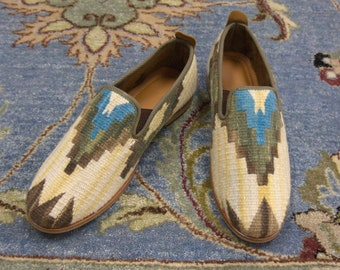 handmade kilim Men's Loafers / kilim shoes