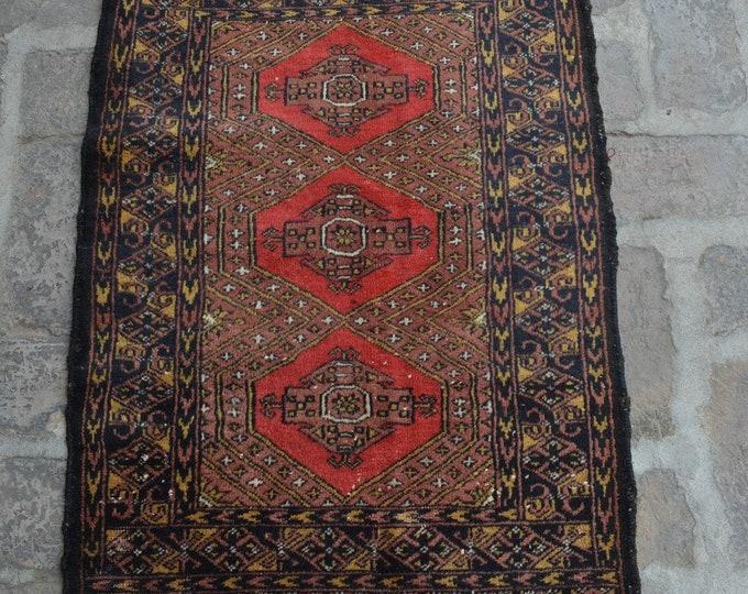 Vintage Afghan handmade Rug/ Free Shipping 62 x 90 cm
