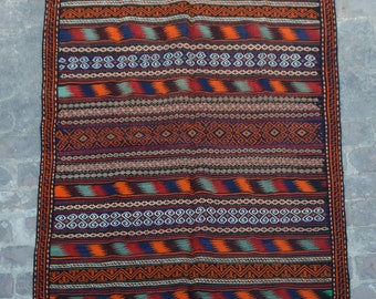 Colorful afghan vintage Qalaino kilim Needle work by hand