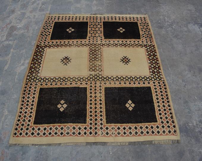 Vintage Moroccan tribal handmade wool rug and kilim