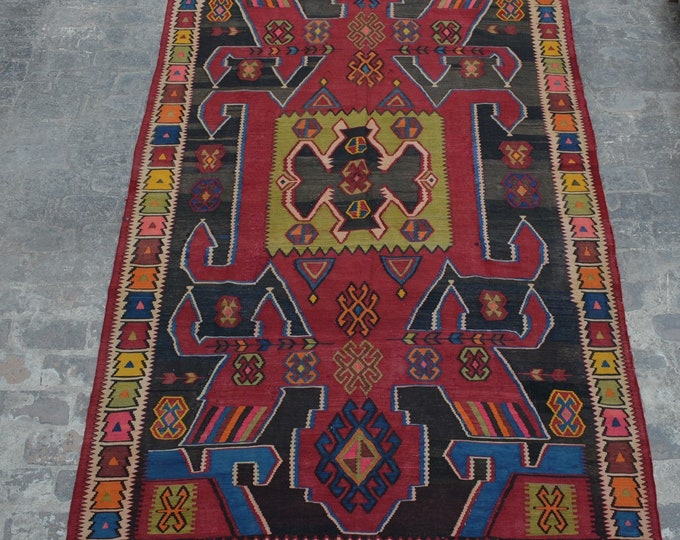 Vintage Spectacular handwoven tribal Caucasian nomadic pictorial kilim / Traditional sumak kuchi kilim/ decorative Caucasian Gypsy kilim