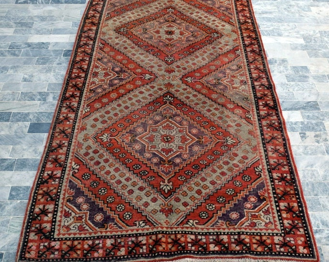 "Antique 4'9"" x 9'8"" Khotan Hand Knotted Wool Rug Art Deco Rug 1930s - FREE SHIPPING, Bedroom rug, Livingroom rug"