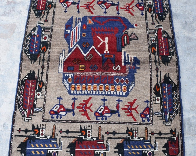 Free Shipping/ Hand knotted tribal War Rug/ 3'1 x 3'10 ft.