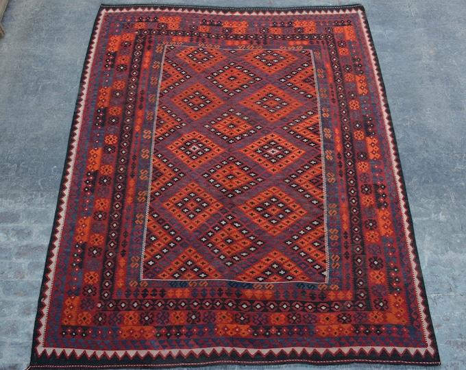"""8'2 x 11'0"""" ft. - Flat Weave Afghan Tribal Ghalmori kilim"""
