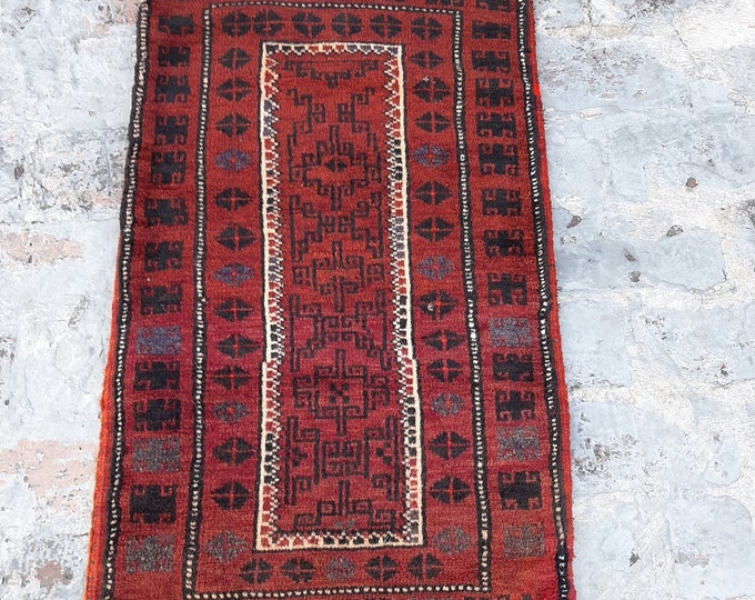 2'0 x 4'0 ft. Vintage Afghan Balisht cushion cover , handmade rug cusion comfy large cushion