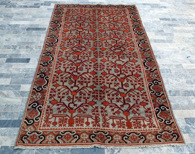 "Antique 5'0"" x 10'3"" Khotan Rug Pomegranate Hand Knotted Wool Rug Art Deco Rug 1940s - FREE SHIPPING, Bedroom rug, Livingroom rug"