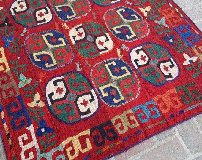 150x160 Red Afghan Embroidery kilim - Tribal kilim - wool kilim - Decorative kilim - living room rug kilim - free Shipping