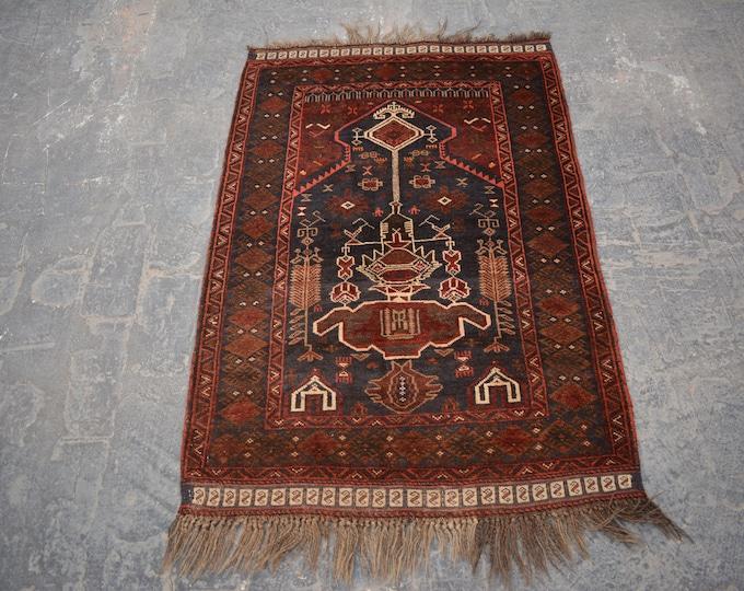Vintage Afghan tribal hand knotted rug decorative rug /prayer rug kizilayak prayer rug / nomadic bohemian home decor rug / turkish kilim rug