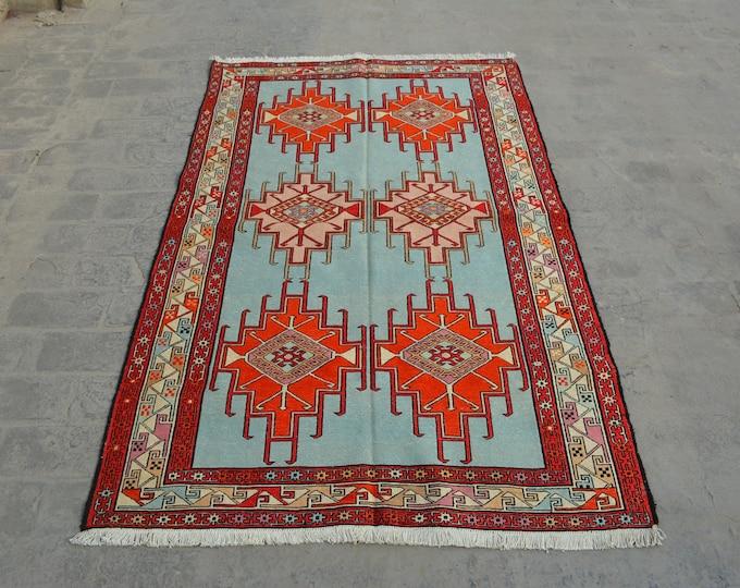 Vintage Spectacular handwoven tribal Turkish nomadic Pictorial Silk kilim / Traditional kuchi kilim/ Turkish Silk kilim
