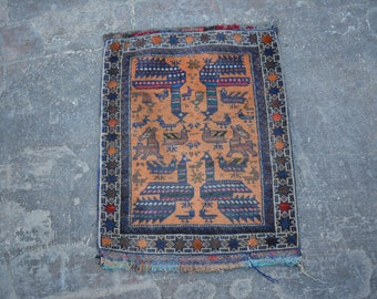 Turkoman Natural Dye Soft Woolen Afghan tribal floor pictorial Balisht Cushion Case Big Pillew Decor Piece
