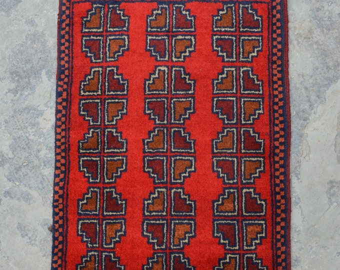FREE SHIPPING- Cute Vintage Afghan Turkoman rug / tribal hand knotted nomadic rug from Afghanistan Door Mat Woolen rug from Afghanistan