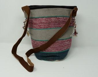 Beautiful handmade bucket kilim bag / bohemian kilim bag