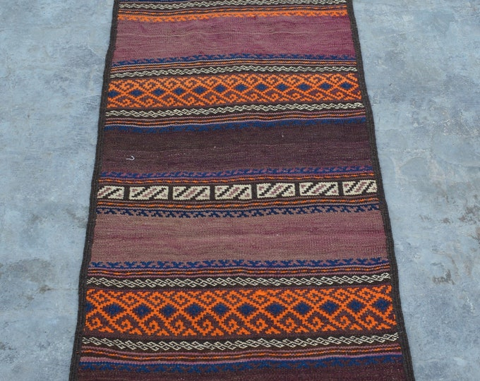 Elegant handmade Nomad kilim runner 100% wool sarandaaz kilim