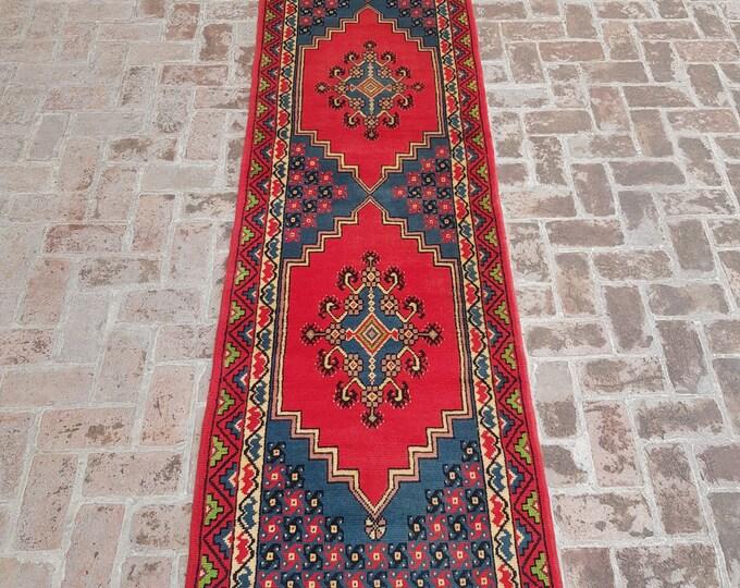 90x388 Caucasian long handmade runner rug - hallway runner rug - wool runner rug - free shipping