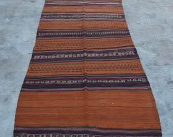 Vintage Handmade Afghan Nomad Kilim rug 100% wool