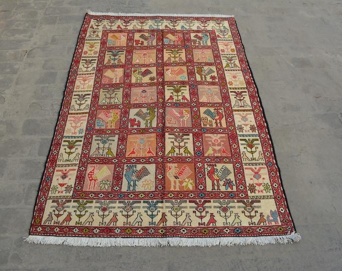 Vintage Spectacular handwoven tribal Turkish nomadic Pictorial Silk kilim / Traditional kuchi kilim/ decorative Turkish Gypsy Silk kilim