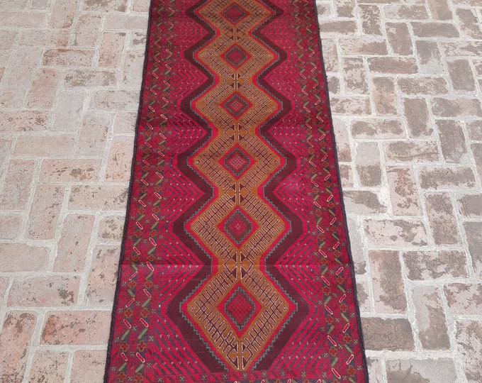 89x301 Afghan Tribal baluch runner rug - hand knotted rug runner - hallway runner rug - tribal wool runner rug - free shipping