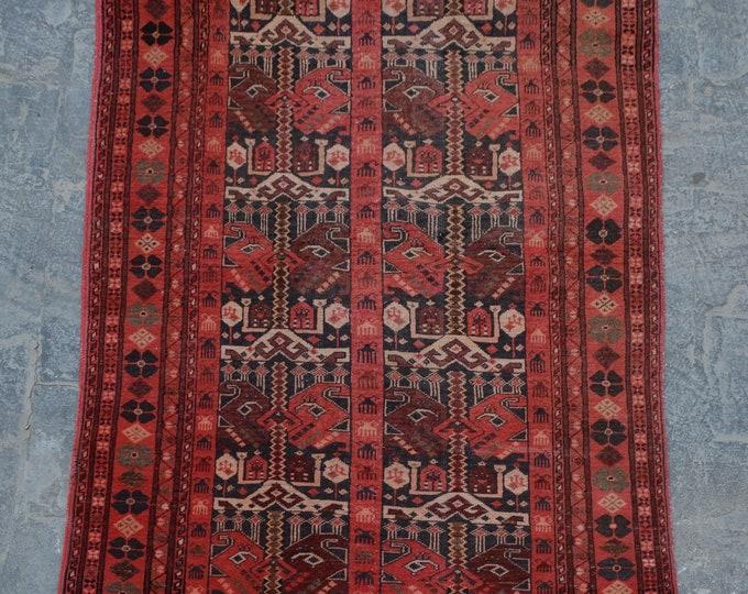 Vintage afghan handmade qunduzi rug