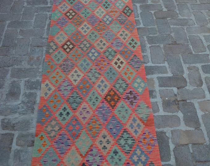 Colorful Handmade Afghan kilim Rug Runner/ Free Shipping - 83 x 385 cm
