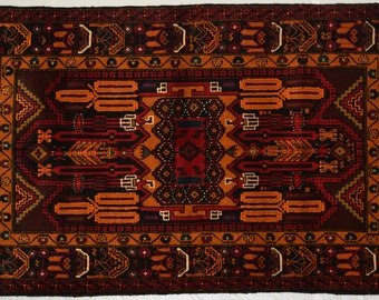 Nomad's Afghan tribal hand knotted rug 100% wool / decorative home decor rug elegant hand knotted baluchi rug / kuchi rug