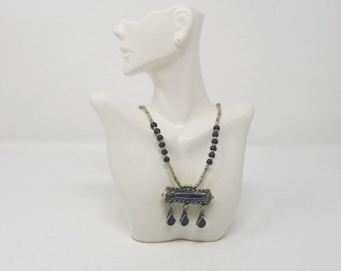 Beautiful vintage Afghan kuchi lapiz pendant necklace/ gypsy Ethnic jewelry/ Afghan jewelry , Gypsy style jewelry Boho style