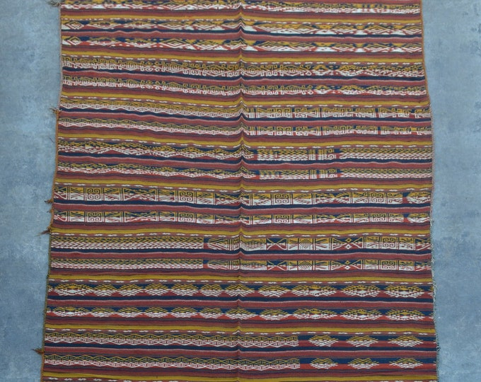 Traditional Uzbek Handwoven Gajari kilim Blanket kilim rug piece of art