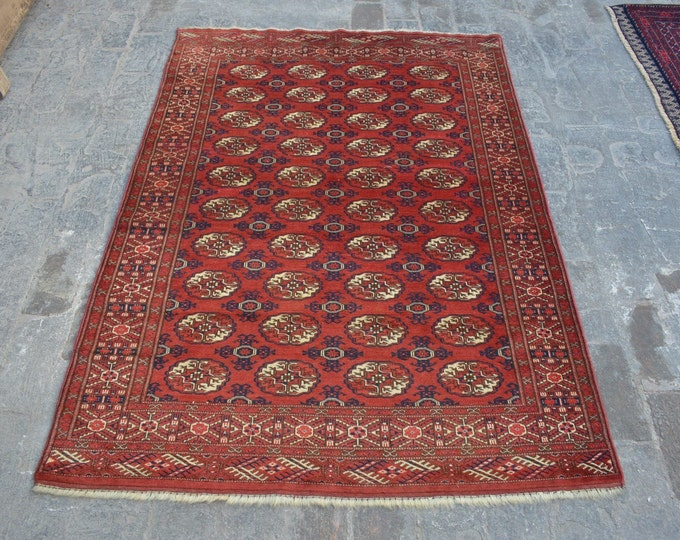 Vintage turkoman tekke tribal handmade wool rug / Decorative rug vintage Turkoman tekka traditional rug