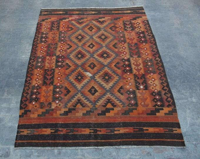 "6'6 x 8'11"" ft. - Vintage Afghan Ghalmori kilim Rug, Tribal handwoven kilim"
