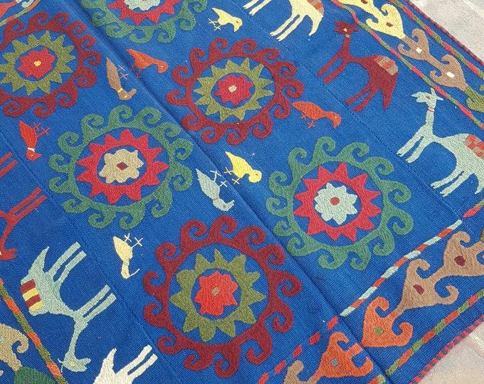 144x157 Blue suzani kilim rug - Tribal Embroidery kilim - living room kilim - turkish kilim - wool rug - traditional kilim
