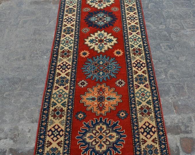 Elegant Afghan Handmade Kazak Rug runner - natural dye Afghan rug runner handspun wool hallway rug