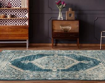 5x8 Rugs Marrakesh Malek Cerulean Traditional Rug, Living Room Rug, Bedroom Rug, Tribal Look Carpet, 6x9 Rug, Traditional 8x8 Round Rug
