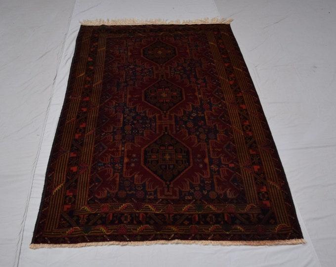 Vintage Handmade Tribal afghan blauch rug, Living room rug, Boho traditional rug, Nomadrug