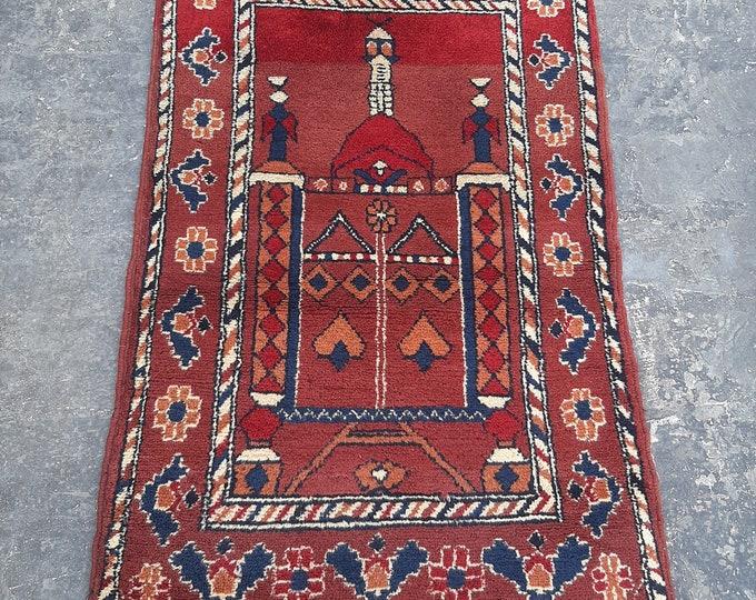 68 x 110 Turkmen Vintage Prayer rug - Handmade Tribal Turkmen Prayer rug
