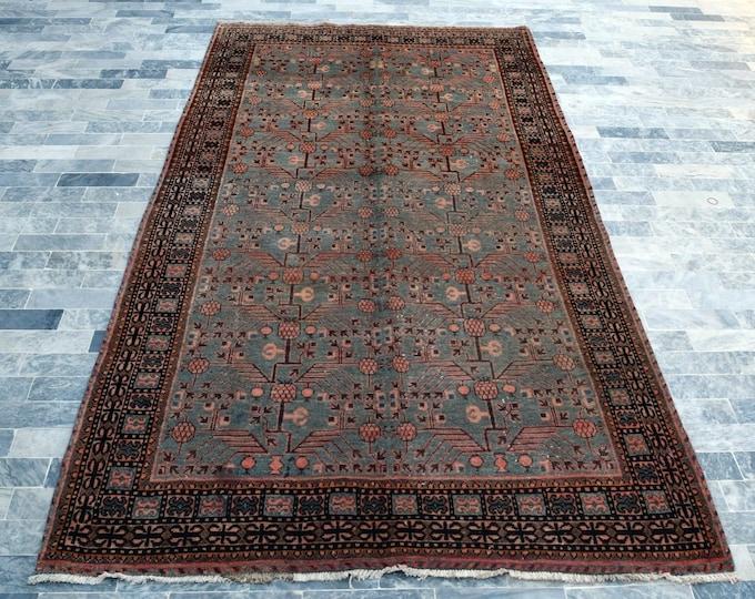 "Antique 5'5"" x 11'0"" Khotan Rug Pomegranate Hand Knotted Wool Rug Art Deco Rug 1910s - FREE SHIPPING, Bedroom rug, Livingroom rug"