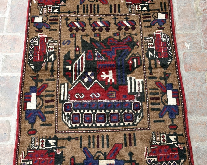 Afghan Hand Knotted War Rug 93 x 136 (cm)