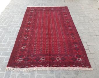 Handmade Tribal Bokhara rug, Oriental afghan rug, Fine Wool rug, Red Living room rug, Free shipping