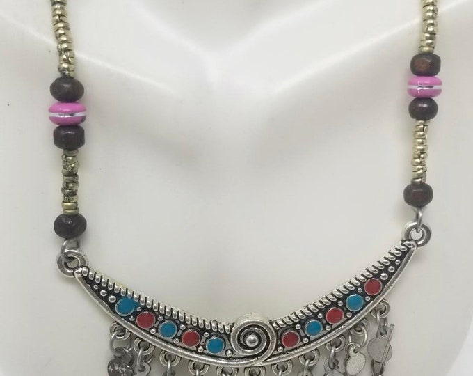Beautiful vintage afghan tribal style multicolored pendant necklace / Afghan jewelry