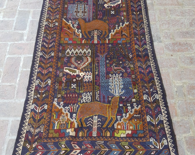 Elegant handmade afghan tribal pictorial rug, Decor rug, Bedroom rug, Wall decor rug, Wool rug, Free Shipping