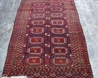 3'9 x 5'8 ft. - Antique Turkmen Tekke rug - Old handmade rug - Antique decor rug - Bedroom rug - Living room rug - Free Shipping