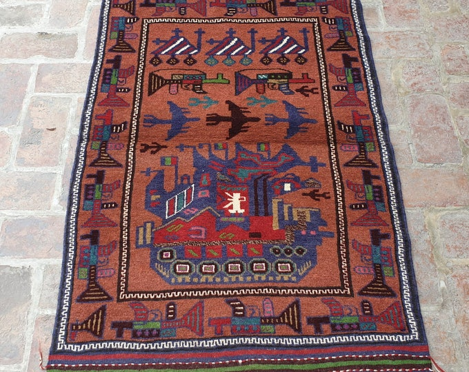 Afghan Hand Knotted War Rug 2'8 x 4'6 (ft)