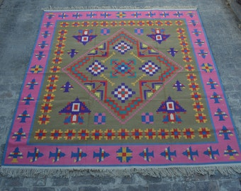 10 x 10 Square Stunning handwoven Afghan tribal Modern kilim / Nomadic modern kilim decorative Turkish chobi gypsy kilim