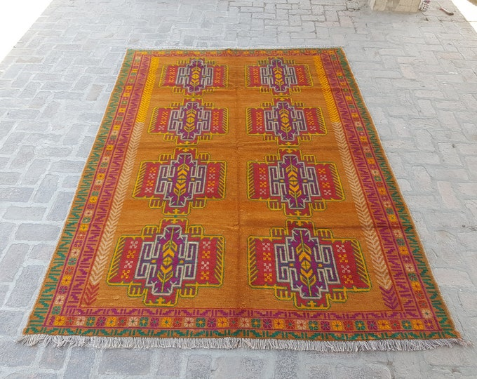 Handmade Tribal Boho rug - Turkish Wool rug - Oriental rug - Living room rug - tribal rug - bedroom rug - free shipping