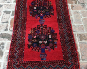 Vintage Afghan Baluch Rug, Hand knotted Tribal Rug, FREE SHIPPING