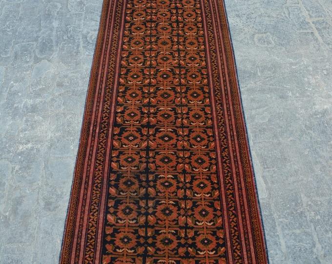 Vintage Afghan turkoman tribal Bashiri rug runner handmade wool rug runner/ Decorative rug vintage afghan traditional rug runner