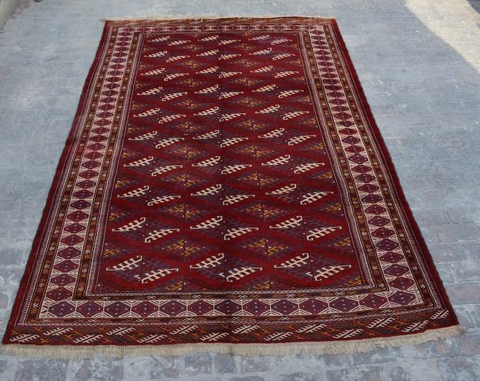 Semi Antique turkoman yamood tekke tribal handmade wool rug / Decorative rug vintage Turkoman tekka traditional rug