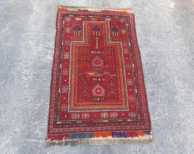 80 x 133 Vintage Afghan Taimani Baluch prayer rug - Free Shipping - Turkmen Red Prayer rug